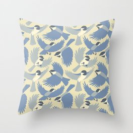 Chickadees  in Blue Throw Pillow