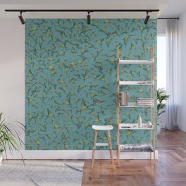 The birds and the bees pattern on blue Wall Mural