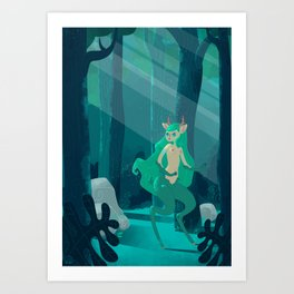 Faun in the enchanted forest Art Print