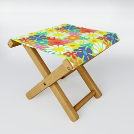 Retro Hippie Daisies and Flowers Pattern Folding Stool