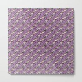 Figgy Plum Pudding Christmas Dessert Purple Repeat Metal Print