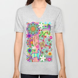 Mandalas, Cats & Flowers Fantasy Pattern Unisex V-Neck