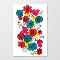 scandinavian Canvas Prints featuring Scandinavian Flowers by Meredith Art/Design