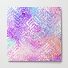 Holographic Glam - Geometric Pattern on Holo Effect Background Metal Print