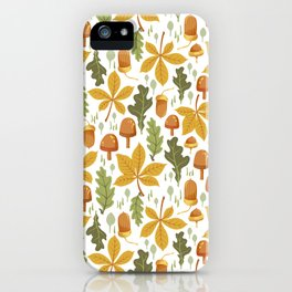 Autumn Forest Floor Pattern - White iPhone Case