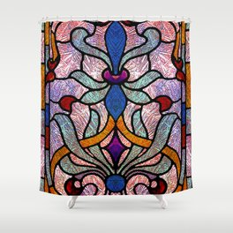 Art Nouveau Stain Glass Victorian Pastel Design Shower Curtain