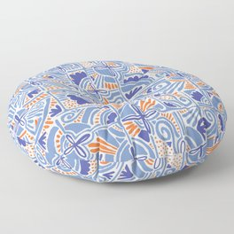 Orange sky blue abstract geometrical mosaic pattern Floor Pillow