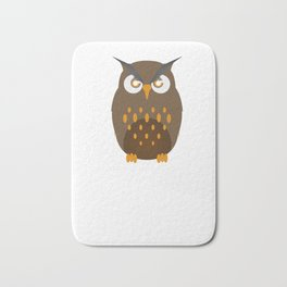Not A Morning Person Funny Lazy Owl Night Hunter Nocturnal Birds Wildlife Gift Bath Mat