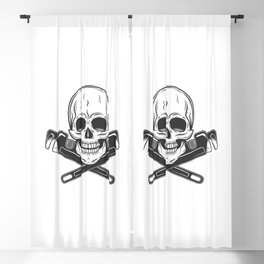 Skull builder from new construction with crossed wrenches plumbing and gas pipes print Blackout Curtain
