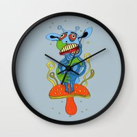 mushroom Wall Clocks featuring mushroom by Zura