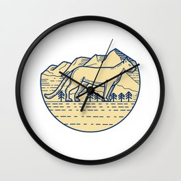 Cougar Mountain Lion Tree Mono Line Wall Clock