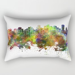 Edmonton skyline in watercolor background Rectangular Pillow