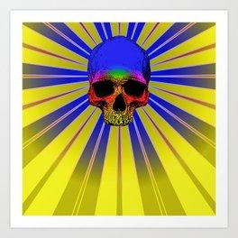 Pop art skull glow Art Print