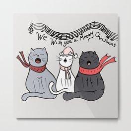 Christmas Singing Cats We Wish You A Meowy Christmas Metal Print