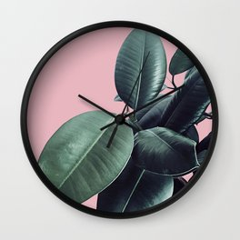 Ficus Elastica #14 #CoralBlush #decor #art #society6 Wall Clock