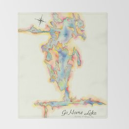 Go Home Lake - Coloured Map Throw Blanket