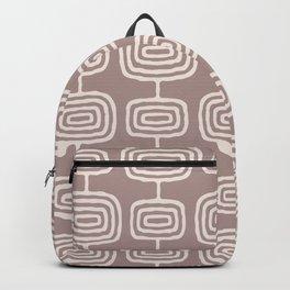 Mid Century Modern Atomic Rings Pattern Beige Backpack