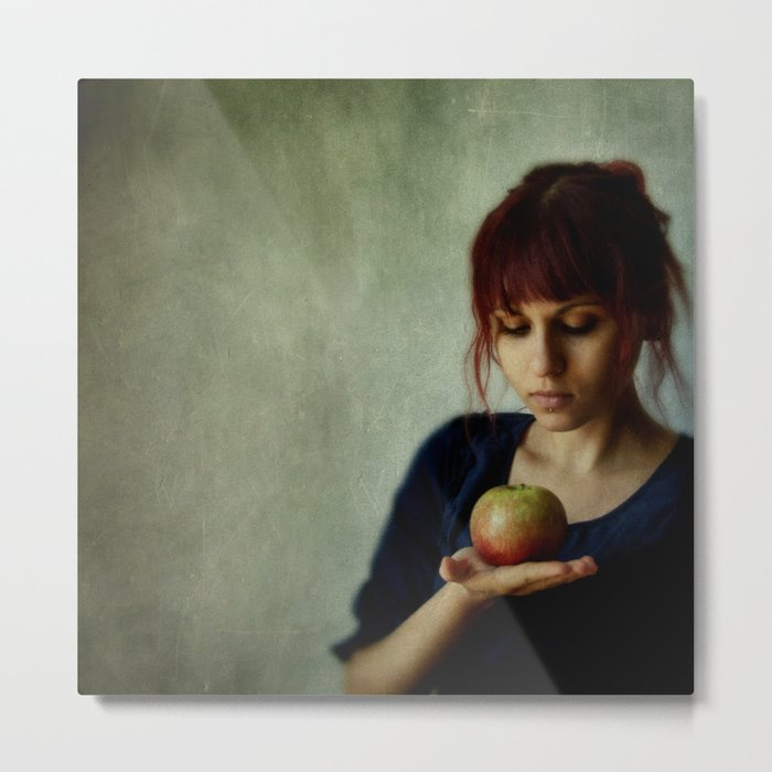 the girl with the apple Metal Print