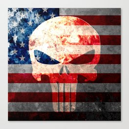 Punisher Themed Skull and American Flag on Distressed Metal Canvas Print