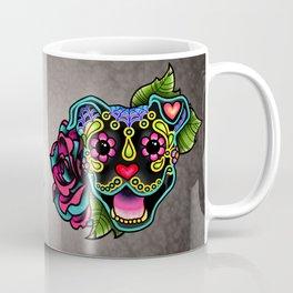 Smiling Pit Bull in Black - Day of the Dead Pitbull Sugar Skull Coffee Mug