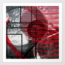 abstract geometric grey white black and red digital art Art Print