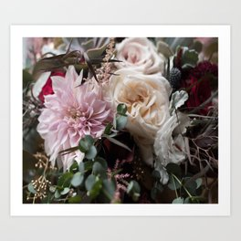 Large floral bouquet - Dahlia and Rose I Art Print