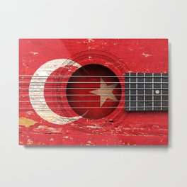 Old Vintage Acoustic Guitar with Turkish Flag Metal Print