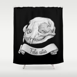 Cat skull in ink Shower Curtain