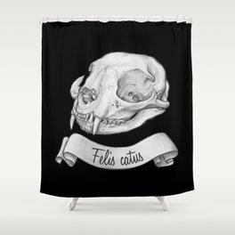 Cat skull in ink Shower Curtain