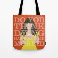 pushing daisies Tote Bags featuring Pushing Daisies - Chuck by MacGuffin Designs