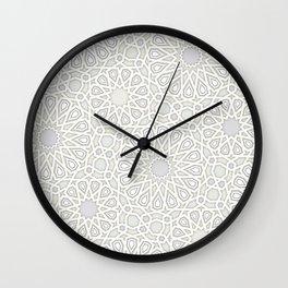 White Moroccan Tiles Pattern Wall Clock