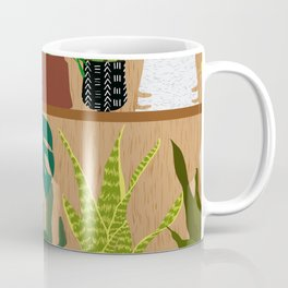Plants on the Shelf in Warm Wood Coffee Mug