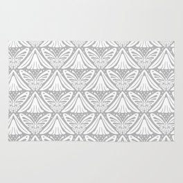 Butterfly and Flower Pattern Gray 2 Rug
