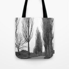 road and trees 1 b&w Tote Bag