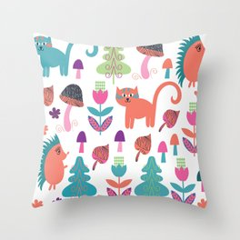 Animals pattern 4F Throw Pillow
