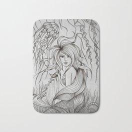 Monochromatic Mermaid Bath Mat