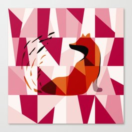 Fox Geometric Pattern Canvas Print