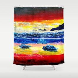 Twilight glow above dark mountains, Crimson Sea sunset around  small islets  of sirens Shower Curtain
