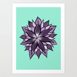 Purple Mandala Like Abstract Flower Art Print