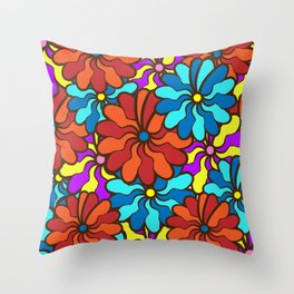 floral background. field of multi colored bright summer colors for the background Throw Pillow