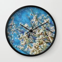 Blossom and Blue Sky In Monet Style Wall Clock