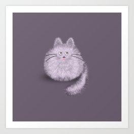 Cute Fluffly cat on pastel purple Art Print