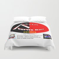 kevin russ Duvet Covers featuring KEVIN CURTIS BARR COMICS' LOGO by KEVIN CURTIS BARR'S ART OF FAMOUS FACES