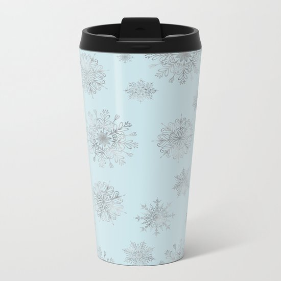 Assorted Silver Snowflakes On Light Blue Background Metal Travel Mug