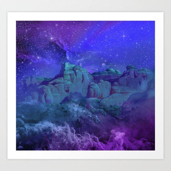 purple desert landscape Art Print