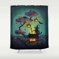 halloween Shower Curtains featuring Halloween by Anna Shell