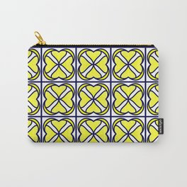 Yellow and Navy Tiles Carry-All Pouch