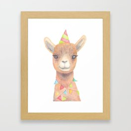 Birthday Llama Framed Art Print