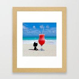 Outdoor Lifestyle - Beach Cat Relax Framed Art Print
