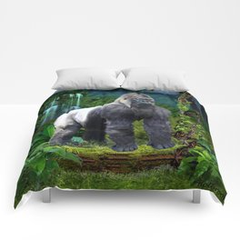Silverback Gorilla Guardian of the Rainforest Comforters